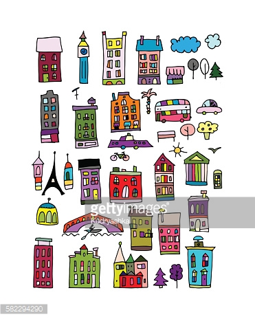 European city icons, sketch for your design