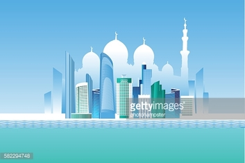 Abu-Dhabi cityscape and white mosque