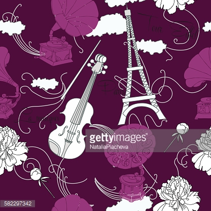 Seamless pattern with  Paris and music