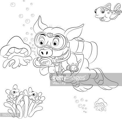 Funny cartoon pig diver looking at jellyfish. Coloring book