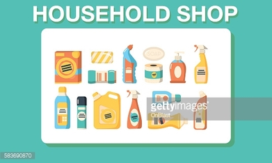 Household shop cleaning icon set