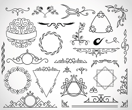 Calligraphic design elements and page decoration. vector set illustration