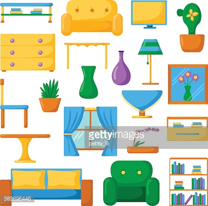 Living room icons. Interior and house furniture