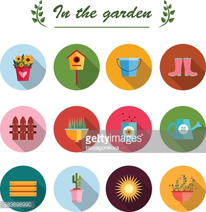 Garden flat icons illustration white background