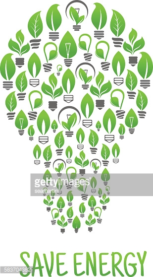 Light bulbs with green plants in a shape of lamp