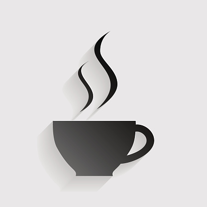 Cup of coffee sign. Black paper with shadow on gray