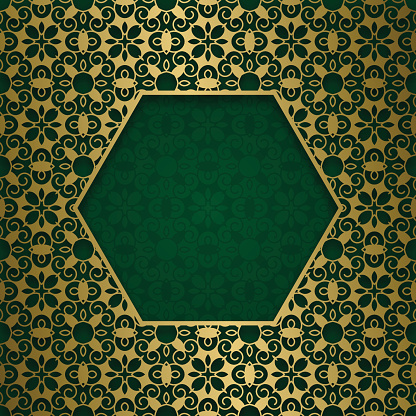 Traditional ornamental background with hexagonal frame