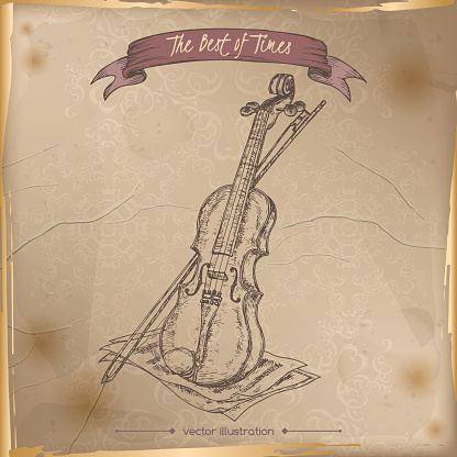 Antique violin hand drawn sketch placed on old paper background.