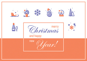 Merry Christmas and Happy New Year. Greeting Cards Template