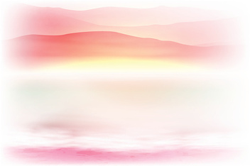 Background with sea and mountain. Sunset time.