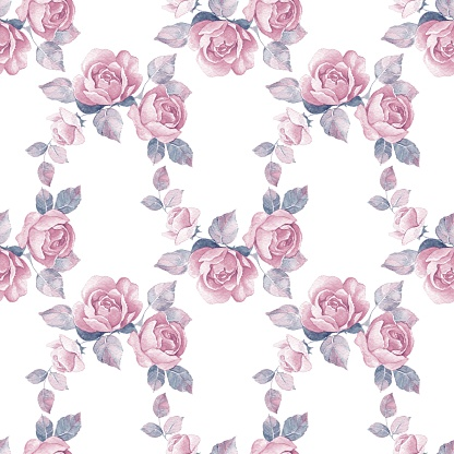 Background with floral branch. Watercolor seamless pattern 13