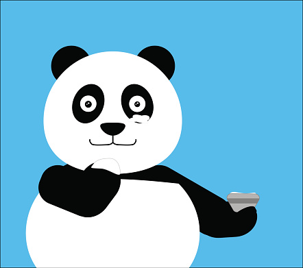 Panda applying cream to face , spa treatment. Vector illustration. EPS10