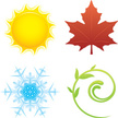 Four Seasons,Sun,Symbol,Hea...