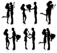 Silhouette,Couple,Kissing,H...