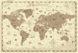 World Map,Old-fashioned,Ret...