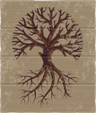 Tree,Root,Woodcut,Stencil,S...