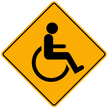 Disabled,Sign,Yellow,Isolat...