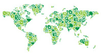 World Map,Green Color,Curre...