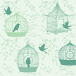 Bird,Birdcage,Flying,Silhou...