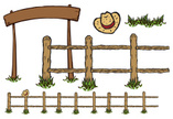 Fence,In A Row,Cartoon,Cowb...