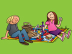 Picnic,Cartoon,Lunch,Eating...