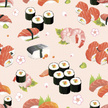 Sushi,Vector,Japan,Seamless...