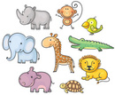 Animal,Elephant,Cartoon,Cute,Animal Themes,Giraffe,Crocodile,Rhinoceros,Turtle,Safari Animals,Hippopotamus,Safari,Drawing - Art Product,Set,Sketch,Monkey,Animals In The Wild,Group Of Animals,Africa,Lion - Feline,Wildlife,Parrot,Small,Nature,Isolated On White,White Background,Multi Colored,Environment