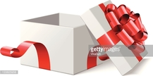 Open empty white gift with red bow