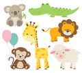 Animal,Young Animal,Tropical Rainforest,Cute,Monkey,Baby Shower,Cartoon,Giraffe,Koala,Lamb,Lion - Feline,Sheep,Vector,Ilustration,Crocodile,Set,Balloon,Simplicity,Animals In The Wild,Wildlife,Collection,Multi Colored,Nature,Animals And Pets,Illustrations And Vector Art,Vector Cartoons