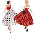 People,Glamour,Elegance,Dress,Bag,Full Length,Front View,Rear View,Blond Hair,Brown Hair,Caucasian Ethnicity,Design,Paintings,Walking,Colors,Black Color,Red,White Color,Pattern,Summer,Purse,Glove,Backgrounds,Beauty,Adult,Cut Out,Art And Craft,Art,Illustration,Two People,Females,Women,Only Women,Looking At View,Polka Dot,Vector,Fashion,Retro Styled,Adults Only,Beautiful People,Background,Classic,Beautiful Woman,1950-1959,1960-1969