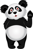 Panda,Cartoon,Cheerful,Gest...