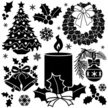 Christmas,Holly,Black And W...