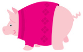 Pig,Sweater,Piglet,Cartoon,...