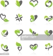 Eco-themed design elements in shape of heart.