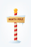 North Pole,Sign,Wood - Mate...