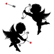 Cupid,Valentine's Day - Holiday,Silhouette,Cherub,Vector,Love,Heart Shape,Bow,Red,Black Color,Arrow,Flying,Bow and Arrow,Love At First Sight,Romance,Clip Art,Looking,Wing,Ilustration