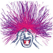 Bizarre,Human Hair,Exhaustion,Men,Chaos,Frustration,Problems,Screaming,Eccentric,Vector,Human Face,Physical Pressure,One Person,Despair,Emotional Stress,Human Head,Distraught,Drawing - Art Product,Shouting,Mental Illness,Purple,Worried,Gesturing,Human Mouth,Ilustration,Isolated On White,Isolated,Anxiety,Long Hair