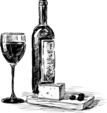 Wine Bottle,Cheese,Sketch,C...