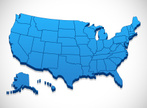 USA,Map,Cartography,Three-dimensional Shape,Vector,Blue,White,Color Gradient,Physical Geography,Ilustration,Travel