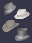 Felt,Hat,Men,Vector,Funky,M...