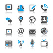Media and communication icons - reflection theme