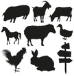 Livestock,Silhouette,Sheep,Goat,Pig,Chicken - Bird,Farm,Black Color,Cow,Vector,Rabbit - Animal,Rooster,Village,Drawing - Art Product,Goose,Isolated,Horse,Plate,Hen,White Background,Set,Ilustration,Collection,Cockerel,Hare
