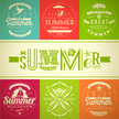 Set of summer vacation and holidays emblems with lettering