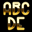 Vector,Gold Colored,Alphabe...
