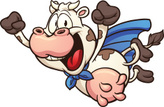 Cow,Flying,Cheerful,Super -...