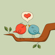 Bird,Green Color,Couple,Blue,Red,Branch,Leaf,Romance,Love,Love Song,Heart Shape,Animal,Twig,Cute,Flirting,Ilustration,Cartoon,Wing,Singing,Computer Graphic