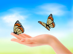 Human Hand,Butterfly - Inse...