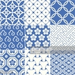 Blue and white geometric pattern squares