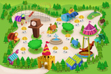 Map,Amusement Park,Cartoon,...