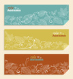 Vintage autumn web banners set with leaves and text inside